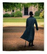 Gentleman Walking Towards A House Fleece Blanket