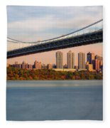 George Washington Bridge In Autumn Fleece Blanket