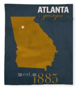 Georgia Tech University Yellow Jackets Atlanta College Town State Map Poster Series No 043 Fleece Blanket