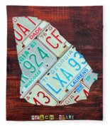 Georgia The Peach State License Plate Map On Fruitwood Fleece Blanket