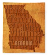 Georgia Word Art State Map On Canvas Fleece Blanket by Design Turnpike