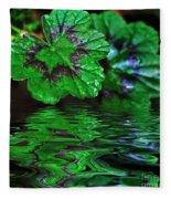 Geranium Leaves - Reflections On Pond Fleece Blanket