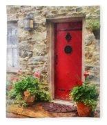 Geraniums By Red Door Fleece Blanket