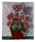 Geraniums In A Copper Pot Fleece Blanket