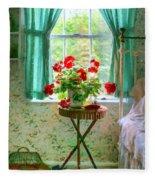 Geraniums In The Bedroom Fleece Blanket