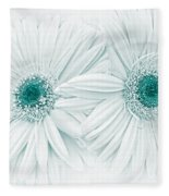 Gerber Daisy Flowers In Teal Fleece Blanket