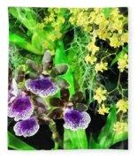 Geyser Jaimie And Golden Fantasy Orchids Fleece Blanket