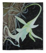 Ghost Orchid On A Palm Tree Fleece Blanket