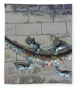 Giant Lizard On A Wall Fleece Blanket