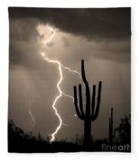 Giant Saguaro Cactus Lightning Strike Sepia  Fleece Blanket