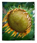 Giant Sunflower Drama Fleece Blanket