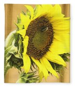 Giant Sunflower With Buds Fleece Blanket
