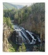 Gibbon River And Falls Fleece Blanket