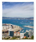 Gibraltar City And Bay Fleece Blanket