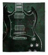 Gibson Sg Standard Green Grunge With Skull Fleece Blanket