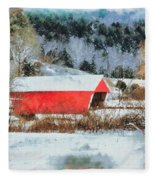 Gifford Covered Bridge In Winter Fleece Blanket