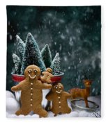 Gingerbread Family In Snow Fleece Blanket