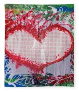 Gingham Crazy Heart Shrink Wrapped Fleece Blanket