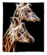 Giraffe Duo Fractal Fleece Blanket