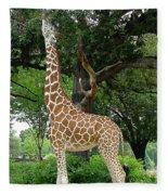 Giraffe Eats-09053 Fleece Blanket