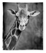 Giraffe Face In Black And White Fleece Blanket