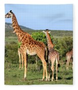 Giraffe Group On The Masai Mara Fleece Blanket