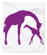 Giraffe In Purple And White Fleece Blanket
