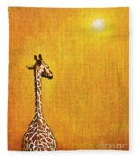 Giraffe Looking Back Fleece Blanket