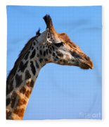 Giraffe Portrait Close-up. Safari In Serengeti. Tanzania Fleece Blanket
