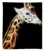 Giraffe Portrait Fractal Fleece Blanket