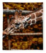 Giraffe Showing His 20 Inch Tongue Fleece Blanket