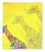 Giraffe X 3 - Yellow - The Card Fleece Blanket