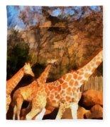 Giraffes At The Zoo Fleece Blanket