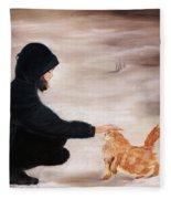 Girl And A Cat Fleece Blanket