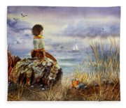 Girl And The Ocean Sitting On The Rock Fleece Blanket