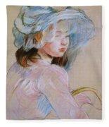 Girl Carrying A Basket Fleece Blanket