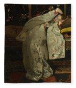 Girl In A Kimono Fleece Blanket