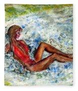 Girl In A Red Swimsuit Fleece Blanket