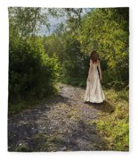 Girl In Country Lane Fleece Blanket