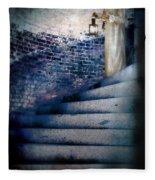 Girl In Nightgown On Circular Stone Steps Fleece Blanket