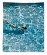 Girl In Pool Fleece Blanket