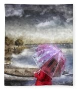Girl In Red Coat Fleece Blanket