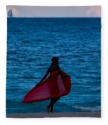 Girl In Red Float Fleece Blanket