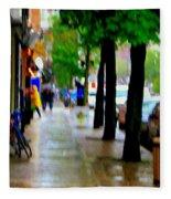 Girl In The Yellow Raincoat Rainy Stroll Through Streets Of The City Montreal Scenes Carole  Fleece Blanket