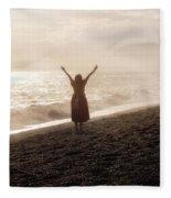 Girl On Beach Fleece Blanket