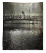 Girl On Bridge Fleece Blanket