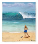Girl On Surfer Beach Fleece Blanket