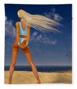 Girl On The Beach... Fleece Blanket