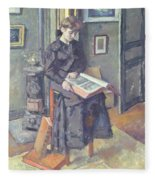 Girl Reading A Book Fleece Blanket