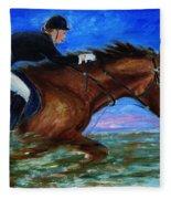 Girl Riding Her Horse II Fleece Blanket